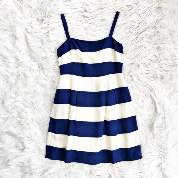 64cbfd743e11 LOFT Dresses | Striped Linen Blend Fit And Flare Dress | Poshmark